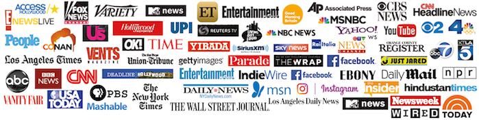 Logos of media outlets with whom we work.